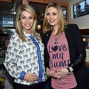 Mums-to-be Pippa O'Connor (due in April) & Anna Daly (due in March) film on board a barge on the Grand Canal for TV3 Ireland AM's 'Breakfast with Anna' slot, Dublin, Ireland - 16.01.13. Pictures: VIPIRELAND.COM