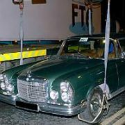 The Edge's Vintage Green Mercedes-Benz Car gets lifted for illegal parking at The Clarence Hotel, Dublin, Ireland 20 March 2002. EXCLUSIVE...