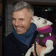 Comedian Des Bishop spotted on Grafton Street filming This is Ireland program for RTE doing a segment on Little Hill Animal Rescue with rescue dog Rovie, Dublin, Ireland - 19.12.16. Pictures: Cathal Burke / VIPIRELAND.COM **IRISH RIGHTS ONLY**