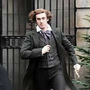 Film set of the Charles Dickens movie The Man Who Invented Christmas with actors Dan Stevens (Charles Dickens), Jonathan Pryce (John Dickens), Ger Ryan (Mrs Dickens) and comedian John Colleary (Constable), Dublin, Ireland - 07.01.17. Pictures: Cathal Burke / VIPIRELAND.COM **IRISH RIGHTS ONLY**