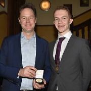 Nick Clegg receives the Gold Medal for Outstanding Contribution to Discourse from Trinity College Historical Society, Dublin, Ireland - 05.04.17. Pictures: Cathal Burke / VIPIRELAND.COM **IRISH RIGHTS ONLY**