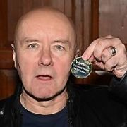 Irvine Welsh receives the Gold Medal of Honorary Patronage of Trinity College's Philosophical Society from new Phil president Conn McCarrick, Dublin, Ireland - 06.04.17. Pictures: Cathal Burke / VIPIRELAND.COM **IRISH RIGHTS ONLY**