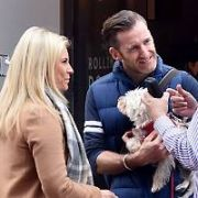 Paul Byrom & wife Dominique Byrom seen with their dog chatting on Grafton Street, Dublin, Ireland - 11.04.17. Pictures: Cathal Burke / VIPIRELAND.COM **IRISH RIGHTS ONLY**