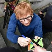 Ed Sheeran gets mobbed by fans as he leaves RTE 2FM by the back door after appearing on the Eoghan McDermott Show, Dublin, Ireland - 13.04.17. Pictures: Cathal Burke / VIPIRELAND.COM **IRISH RIGHTS ONLY**