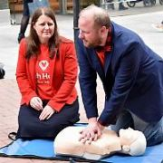 Comedian Fred Cooke filmed giving CPR to a dummy for the Irish Heart Foundation, Dublin, Ireland - 18.04.17. Pictures: Cathal Burke / VIPIRELAND.COM **IRISH RIGHTS ONLY**