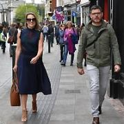 Kathryn Thomas and fiance Padraig McLoughlin spotted walking on Grafton Street, Dublin, Ireland - 20.04.17. Pictures: Cathal Burke / VIPIRELAND.COM **IRISH RIGHTS ONLY**