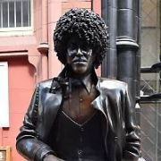 The iconic statue of late Thin Lizzy frontman Phil Lynott has been put back in pride-of-place outside Bruxelles Pub off Grafon Street but this time facing south. The bronze statue has been damaged numerous times in its previous easterly orientation due to delivery vans offloading in the area and such. Philo's proud mother Philomena Lynott was on site to oversee the reinstatement, Dublin, Ireland - 16.05.17. Pictures: Cathal Burke / VIPIRELAND.COM **IRISH RIGHTS ONLY**