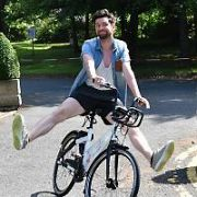 Eoghan McDermott poses with BleeperBike bike-sharing service CEO Hugh Cooney at RTE, Dublin, Ireland - 20.06.17. Pictures: Cathal Burke / VIPIRELAND.COM **IRISH RIGHTS ONLY**
