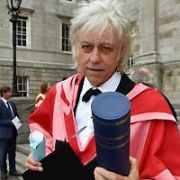 Bob Geldof made honorary doctor of laws by Trinity College for his famine relief work with Band Aid and Live Aid. Trinity also awarded honorary doctorates to four other leaders in their field - Historian Professor Marianne Elliott, Australian medical researcher Professor Terence Dwyer, Professor James P Smith and Environmentalist Patricia Oliver. Chancellor of Trinity College, Dr Mary Robinson bestowed the honours, Dublin, Ireland - 23.06.17. Pictures: Cathal Burke / VIPIRELAND.COM **IRISH RIGHTS ONLY**