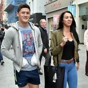 Wexford hurling star Lee Chin and girlfriend Sarah Roche spotted on Grafton Street, Dublin, Ireland - 06.10.17. Pictures: Cathal Burke / VIPIRELAND.COM **IRISH RIGHTS ONLY**