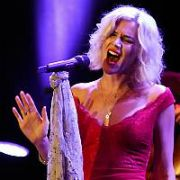 Still barefoot Joss Stone unveils her new mature look wearing a long red evening dress and bleach blonde hair while performing her Total World Tour at Vicar Street, Dublin, Ireland - 08.10.17. Pictures: G. McDonnell / VIPIRELAND.COM **IRISH RIGHTS ONLY**