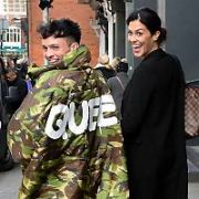 Glenda Gilson and James Kavanagh spotted walking past The Westbury Hotel with the word QUEEN emblazoned across the back of James' coat, Dublin, Ireland - 25.01.18. Pictures: Cathal Burke / VIPIRELAND.COM **IRISH RIGHTS ONLY**