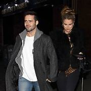 Newly engaged Spencer Matthews & Vogue Williams leave RIOT Bar on Aston Quay where Vogue was DJing, Dublin, Ireland - 03.02.18. Pictures: G. McDonnell / VIPIRELAND.COM **IRISH RIGHTS ONLY**