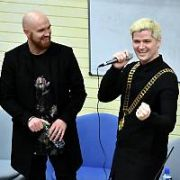 The Script (Danny O'Donoghue, Mark Sheehan, Glen Power) are presented with a Honorary Lifetime Membership of The Law Society of University College Dublin at UCD. Lead singer Danny borrowed the Society Auditor's (Laura Hogan) gold medallion at one stage to the delight of the students in the auditorium, Dublin, Ireland - 09.02.18. Pictures: Cathal Burke / VIPIRELAND.COM **IRISH RIGHTS ONLY**