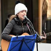 12 year old singer Allie Sherlock, who has signed a five year recording deal after appearing on The Ellen Show, spotted busking on Grafton Street, Dublin, Ireland - 09.03.18. Pictures: Cathal Burke / VIPIRELAND.COM **IRISH RIGHTS ONLY**