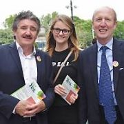John Halligan, Aishling Dunne & Shane Ross campaigning for a YES vote on Grafton Street. Minister for Health Simon Harris spotted at The Merrion Hotel, Dublin, Ireland - 23.05.18. Pictures: Cathal Burke / VIPIRELAND.COM **IRISH RIGHTS ONLY**
