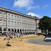 Work gets underway to prepare Trinity College for the Royal visit of Prince Harry and Meghan Markle tomorrow when they visit the Book of Kells located in the Long Room of the Old Library. The normally green lawns outside the Old Library are now brown and arid due to the prolonged drought and subsequent hosepipe ban, Dublin, Ireland - 10.07.18. Pictures: Cathal Burke / VIPIRELAND.COM **IRISH RIGHTS ONLY**