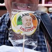 Newstalk's roving reporter Henry McKean on Drury Street with Pope Francis merchandise including tee shirts and lollipops asking punters what they thought of Pope themed consumer items ahead of The Pope's upcoming visit to Ireland, Dublin, Ireland - 19.07.18. Pictures: Cathal Burke / VIPIRELAND.COM **IRISH RIGHTS ONLY**