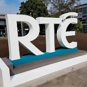 A crane lowers a brand new oversized RTE logo sign into place at RTE HQ in Donnybrook, Dublin, Ireland - 20.07.18. Pictures: Cathal Burke / VIPIRELAND.COM **IRISH RIGHTS ONLY**