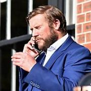 Peter Coonan talking on the phone outside The Shelbourne Hotel, Dublin, Ireland - 15.10.18. Pictures: Cathal Burke / VIPIRELAND.COM **IRISH RIGHTS ONLY**