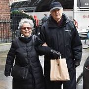 MASH actor Alan Alda and wife Arlene Alda spotted walking at The Merrion Hotel, Dublin, Ireland - 13.12.18. Pictures: Cathal Burke / VIPIRELAND.COM **IRISH RIGHTS ONLY**