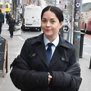 Actress Sarah Greene (plays Cassie Maddox) in costume on Bachelors Walk filming BBC series Dublin Murders, Dublin, Ireland - 28.02.19. Pictures: Cathal Burke / VIPIRELAND.COM **IRISH RIGHTS ONLY**