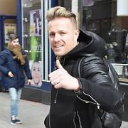 Nicky Byrne broadcasting his 2FM radio show from MacDonalds window on Grafton Street. Also spotted on Grafton Street was Social Media star James Kavanagh, Dublin, Ireland - 08.03.19. Pictures: Cathal Burke / VIPIRELAND.COM **IRISH RIGHTS ONLY**