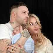 Tallafornia reality tv star Phil Penny & partner Laura pose at home with their new baby Cameron Penny (born 23/02/2019, 7lbs 4ozs, Coombe Hospital), Dublin, Ireland - 07.03.19. Pictures: Jerry McCarthy / VIPIRELAND.COM **IRISH RIGHTS ONLY**