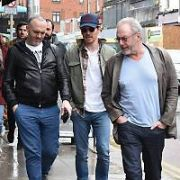Michael Fassbender spotted with fellow Irish actor Liam Cunningham & chef Dylan McGrath on Aungier Street. Nearby, British actor Richard E. Grant was spotted on Baggot Street, Dublin, Ireland - 16.03.19. Pictures: Cathal Burke / VIPIRELAND.COM **IRISH RIGHTS ONLY**