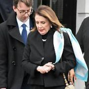 Speaker of the United States House of Representatives Nancy Pelosi seen leaving the Department of Foreign Affairs after meeting with Minister for Foreign Affairs & Trade Simon Coveney and Minister for European Affairs Helen McEntee, Dublin, Ireland - 16.04.19. Pictures: Cathal Burke / VIPIRELAND.COM **IRISH RIGHTS ONLY**