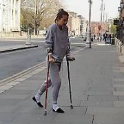 Actress Alicia Vikander seen on crutches entering The Merrion Hotel with her boyfriend Michael Fassbender. Vikander is in Ireland shooting The Green Knight and may have sustained an injury while filming the epic fantasy blockbuster, Dublin, Ireland - 20.04.19. Pictures: Cathal Burke / VIPIRELAND.COM **IRISH RIGHTS ONLY**
