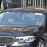 Michael Fassbender & girlfriend Alicia Vikander seen driving away from The Merrion Hotel. Vikander was spotted walking with the aid of crutches earlier today, Dublin, Ireland - 20.04.19. Pictures: Cathal Burke / VIPIRELAND.COM **IRISH RIGHTS ONLY**