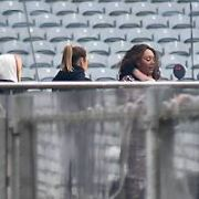 A huge curtain falls down giving a brief glimpse of The Spice Girls (Melanie Brown, Melanie Chisholm, Emma Bunton, Geri Halliwell) as they rehearse at Croke Park ahead of their comeback concert, Dublin, Ireland - 23.05.19. Pictures: VIPIRELAND.COM **IRISH RIGHTS ONLY**