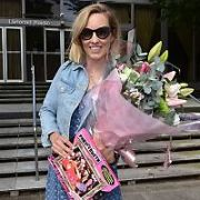 Kathryn Thomas seen leaving RTE Radio as she heads off on her Mystery Hens Weekend with flowers & games. She was filling-in for Ray Darcy, Dublin, Ireland - 28.06.19. Pictures: VIPIRELAND.COM **IRISH RIGHTS ONLY**