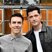 The Script members Danny O'Donoghue & Glen Power spotted at RTE Radio centre along with comedian PJ Gallagher, Dublin, Ireland - 01.11.19. Pictures: VIPIRELAND.COM **IRISH RIGHTS ONLY**