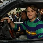 Singer Brian McFadden spotted entering the Mansion House ahead of the TV NOW Awards driving his latest toy, a Cadillac Escalade, and carrying his guitar case, Dublin, Ireland - 21.04.07.