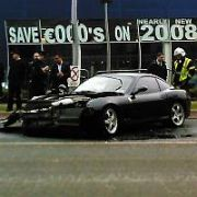 Car Dealer Des Cullens' Ferrari 575 Maranello F1 (159,950 Euro)  crashed in Sandyford Industrial Estate just before 12 noon today. It hit a blue Peugeot 307. Dublin, Ireland - 10.03.09.