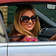 Exclusive Allround: Former Miss World Rosanna Davison seen driving her Audi A4 convertable car at St Strephens Green, Dublin, Ireland - 29.04.11. Pictures: VIPIRELAND.COM