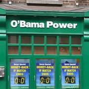 Paddy Power bookmakers in Temple Bar changed their name to O'Bama Power ahead of the US President's visit to Ireland, Dublin, Ireland - 16.05.11. Pictures: VIPIRELAND.COM