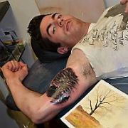 Exclusive Allround: Dublin GAA All Ireland Champion Michael Darragh Macauley gets a tattoo of a tree inked onto his arm inspired by his late mother by artist Leigh Guerrine at Dublin Ink, Cows Lane, Dublin, Ireland - 08.11.11. Pictures: VIPIRELAND.COM