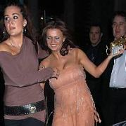 Kerry Katona pictured stumbling into a cab and subsequently flashing her knickers whilest leaving the national launch of Pink Ladies Taxi Service party held at held at the Zeta Bar in London, UK. 16.02.06.